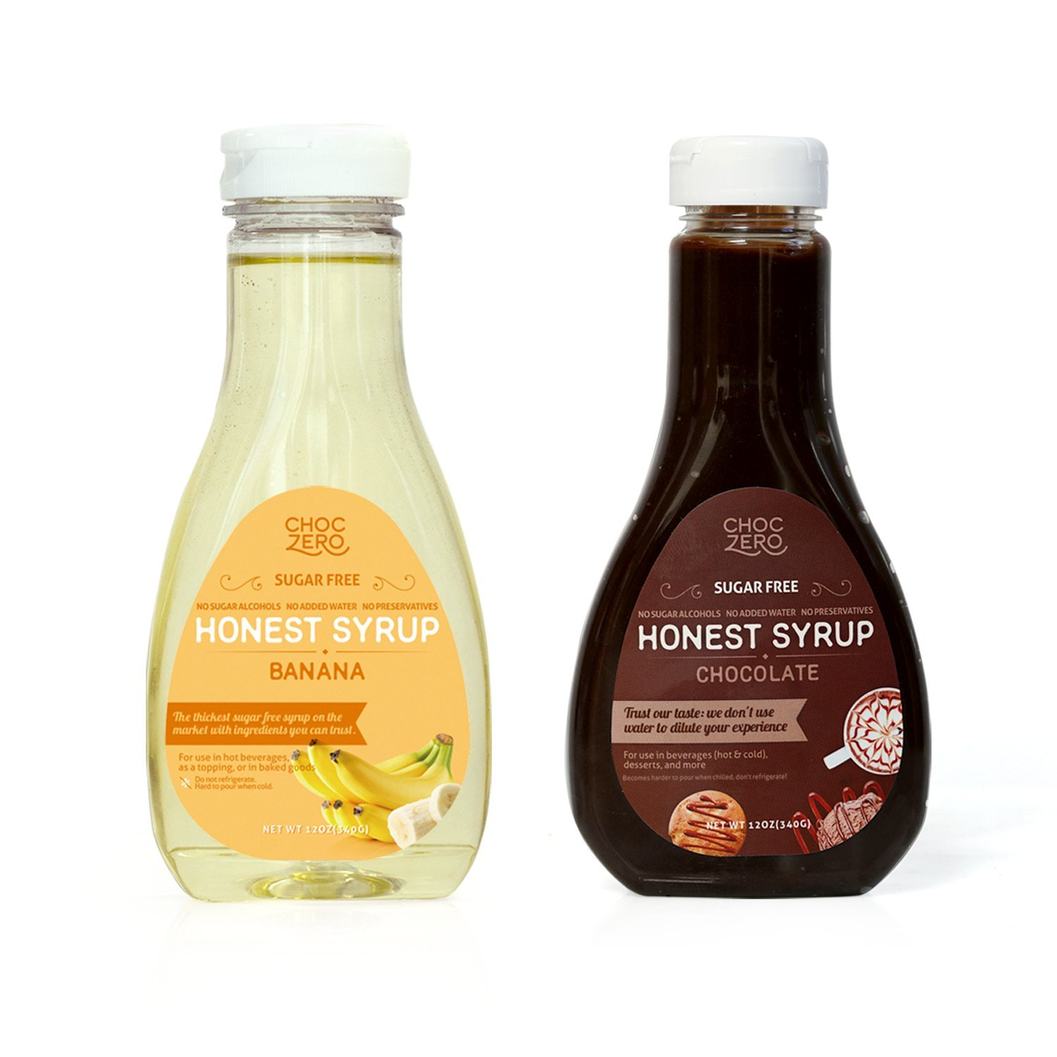 ChocZero's Chocolate Syrup and Banana Syrup. Sugar Free, Low Net Carb, No Preservatives. Gluten Free. No Sugar Alcohols. Good ice cream topping (2 bottles)