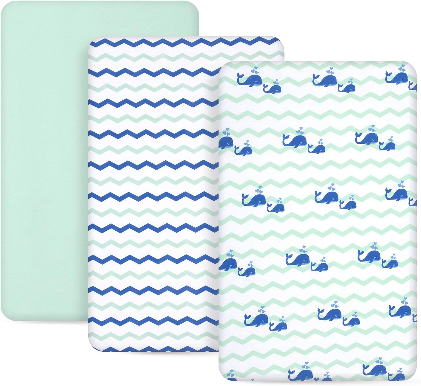 TILLYOU Jersey Knit Pack N Play Sheets, 170 GSM Thicker Softer Mini Crib Sheets Set Unisex, Ultra-Soft Breathable Playard Playpen Sheets, Ocean Theme