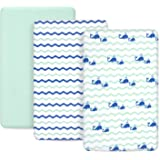 TILLYOU Jersey Knit Pack N Play Sheets, 170 GSM Thicker Softer Mini Crib Sheets Set Unisex, Ultra-Soft Breathable…