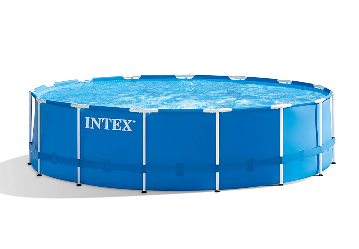 "Intex 15 x 48"" Metal Frame Swimming Pool Set w/ Pump and Filter Pump Cartridges"