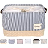 "DOKEHOM DKA0611BBS 15"" Large Storage Basket (Available 15"" and 17""), Drawstring Square Cotton Linen Collapsible Toy Basket (Navy Blue, M)"