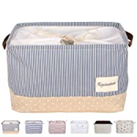 """DOKEHOM DKA0611BBM2 17"""" Large Laundry Storage Basket (Available 15"""" and 17"""") with Leather Handle, Drawstring Square Cotton Linen Collapsible Toy Basket (Navy Blue, L)"""