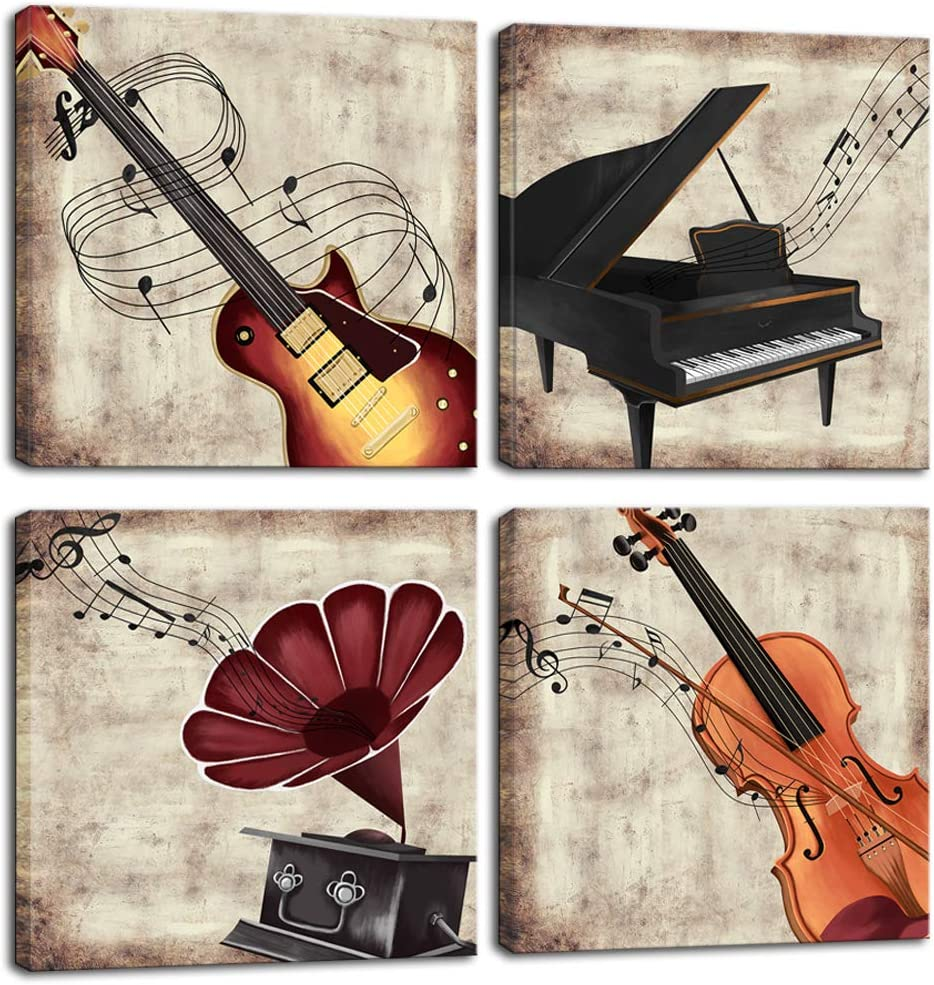 LoveHouse 4 Panel Music Wall Art Violin Canvas Art Piano Guitar Phonograph Canvas Painting Vintage Artwork Home Decoration for Living Room Bedroom Ready to Hang 12x12inchx4pcs (Musical Instrument)