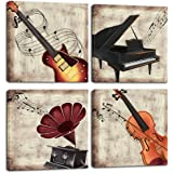 LoveHouse 4 Panel Music Wall Art Violin Canvas Art Piano Guitar Phonograph Canvas Painting Vintage Artwork Home…