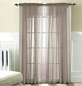 Beatrice Home Fashions Solid Voile Panel Pair, 80