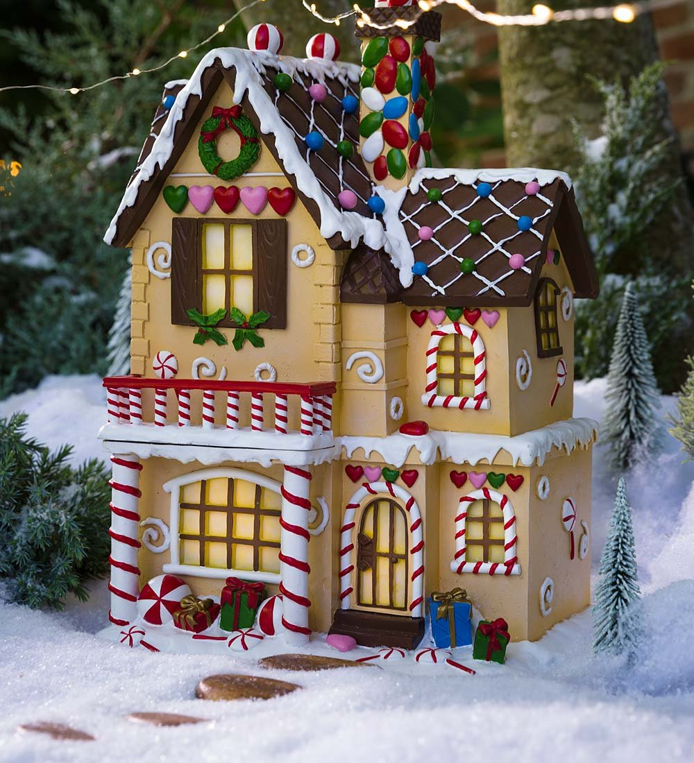 Lighted Victorian Gingerbread Fairy House - 10 L x 8.5 W x 14.75 H