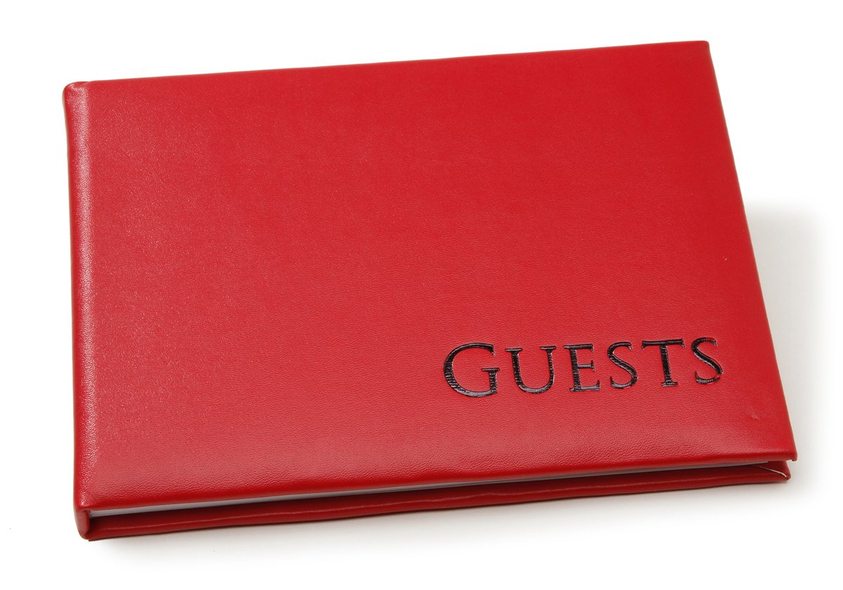 Darice 35935 Embossed Guest Book, Bright Red with Black lettering
