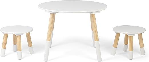 Kledio Kinder Holztisch mit Stühlen in weiß, runder