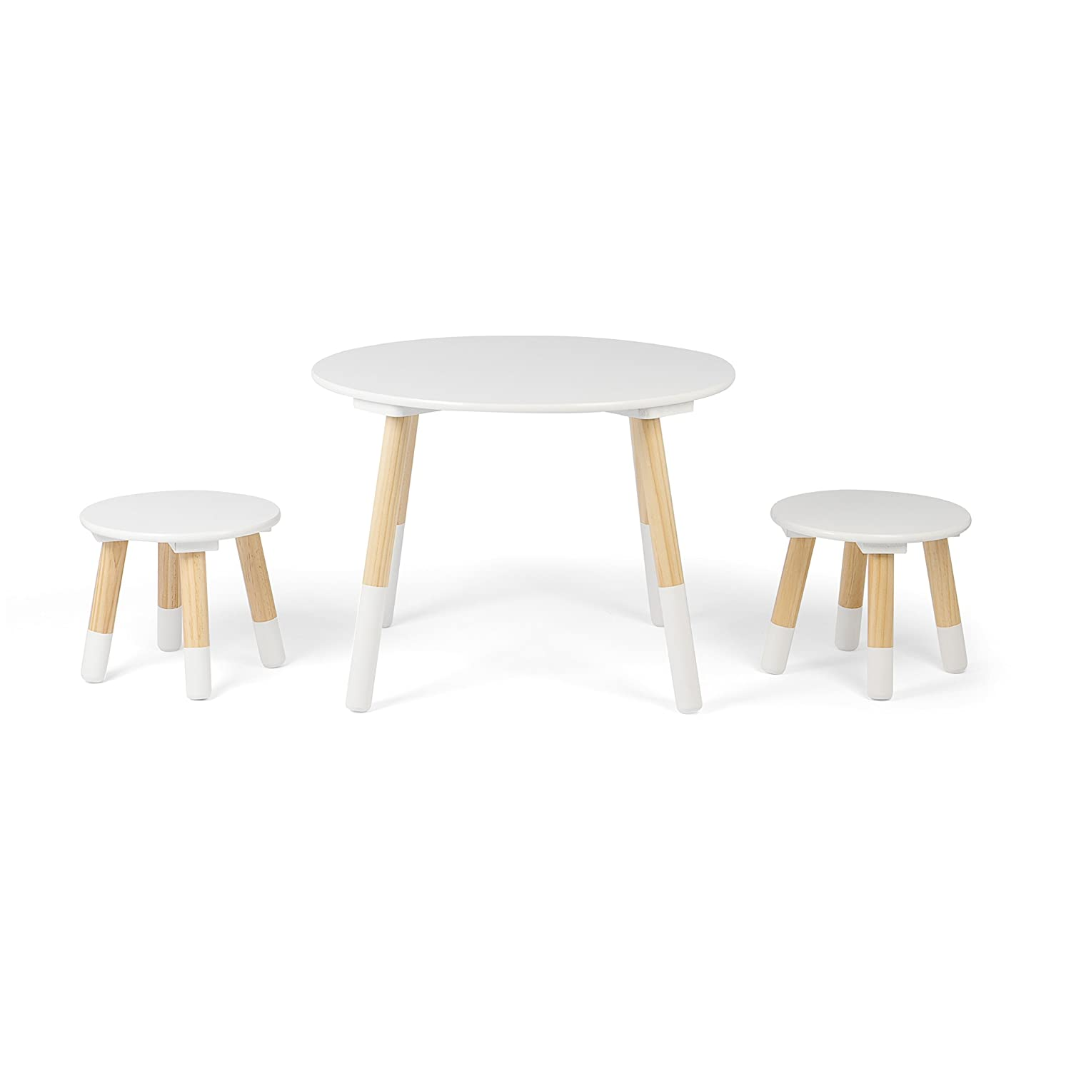 Kledio Children's Table and Chair Set – Round Kid's Table Made of Wood, Including 2 Stools – Children's Furniture Set Perfect for Kid's Bedroom KL-4445