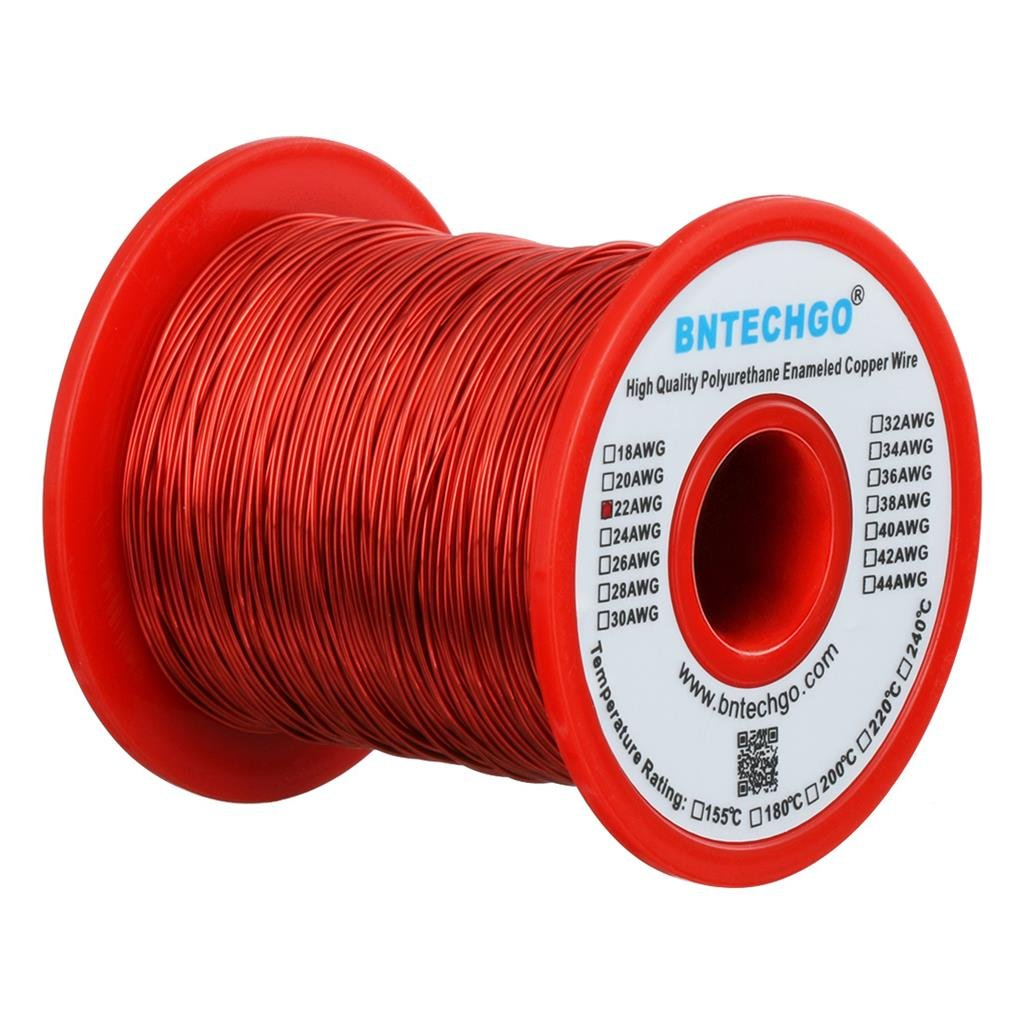BNTECHGO 22 AWG Magnet Wire - Enameled Copper Wire - Enameled Magnet Winding Wire - 16 oz - 0.0256'' Diameter 1 Spool Coil Red Temperature Rating 155 degrees C Widely Used for Transformers Inductors