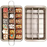 Brownie Pan with Dividers,18 Pre-slice Non Stick Coated Brownie Baking Tray,BPA Free Carbon Steel Bakeware,Microwave & Oven Safe