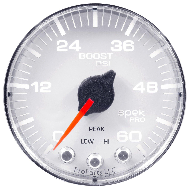 60Psi Wht//Chrm Stepper Motor W//Peak /& Warn Auto Meter P304118 Gauge Boost 2 1//16 Spek-Pro 2 1//16