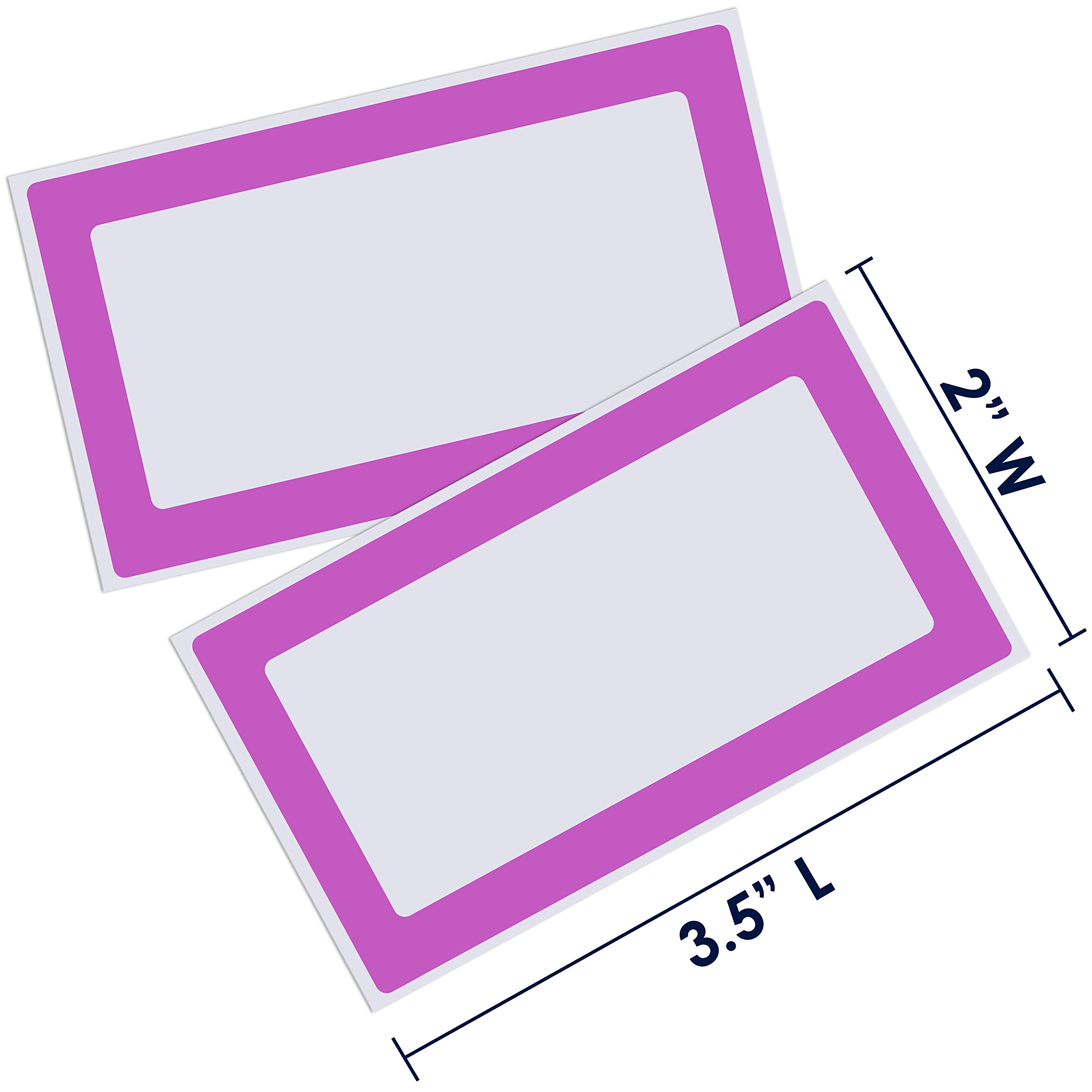 Colorful Plain Name Tag Labels - 2 Rolls 500 Stickers in Total - 3.5 x 2 inches - Nametags for Jars, Bottles, Food Containers, Folders, Birthday Parties and Kids Clothes (Purple/Purple 2 Pack) by Navy Penguin (Image #2)