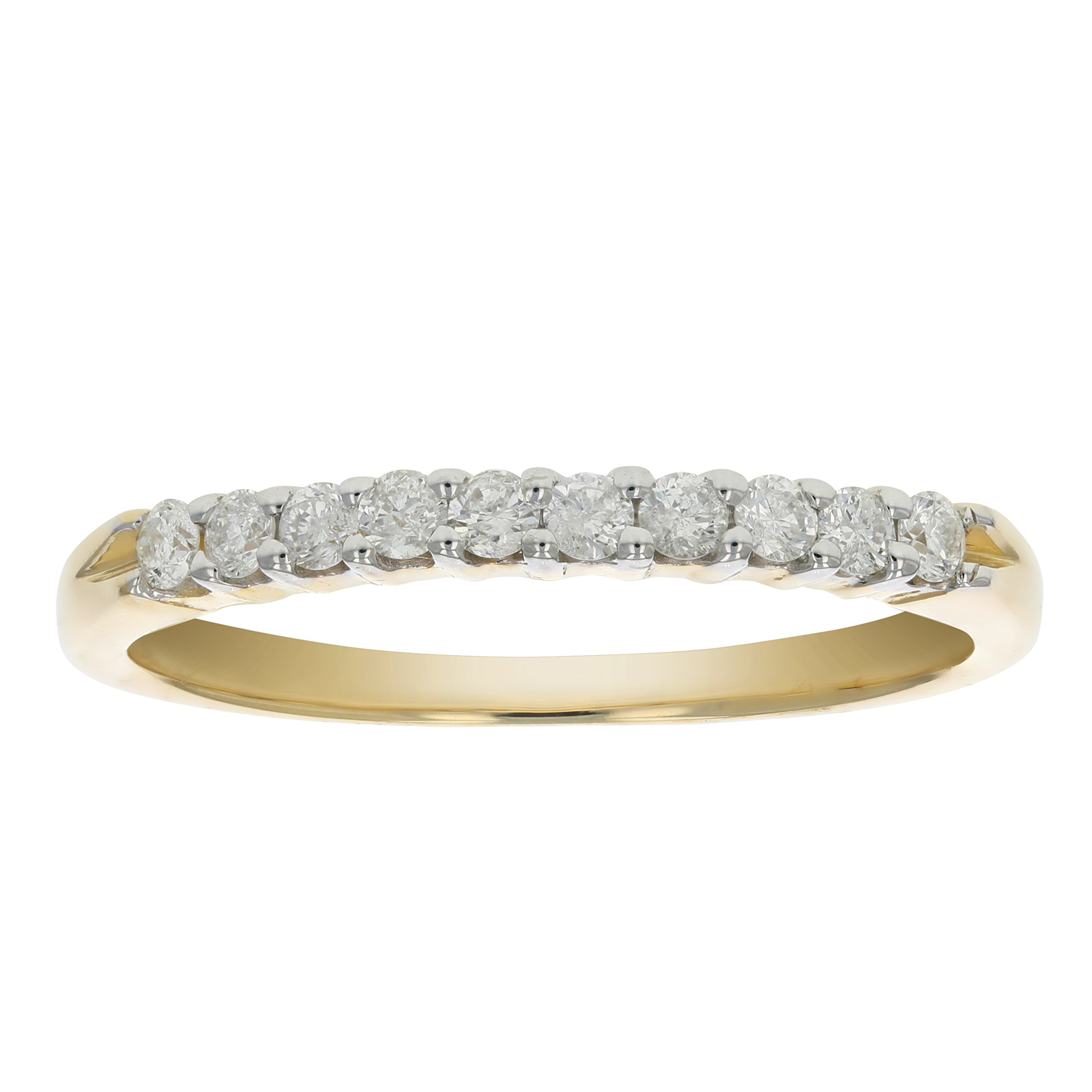 AGS Certified I1-I2 1/4 ctw Diamond Wedding Band 14K Yellow Gold Size 7