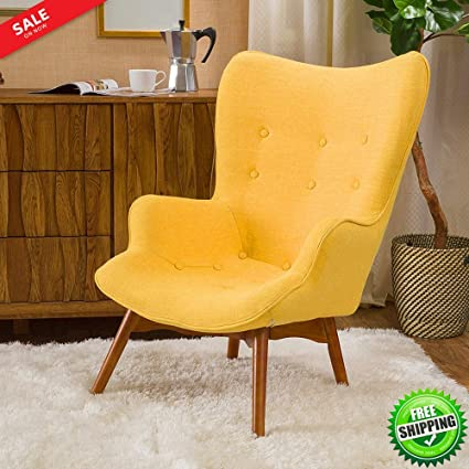 Vintage Wingback Chair Mid Century Style Soft Touch Fabric Button Tufted  Modern Accent Lounge Living Room