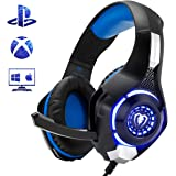 Beexcellent Gaming Headset for PS4 Xbox One PC Mac Controller Gaming Headphone with Crystal Stereo Bass Surround Sound, LED Light & Noise-Isolation Microphone