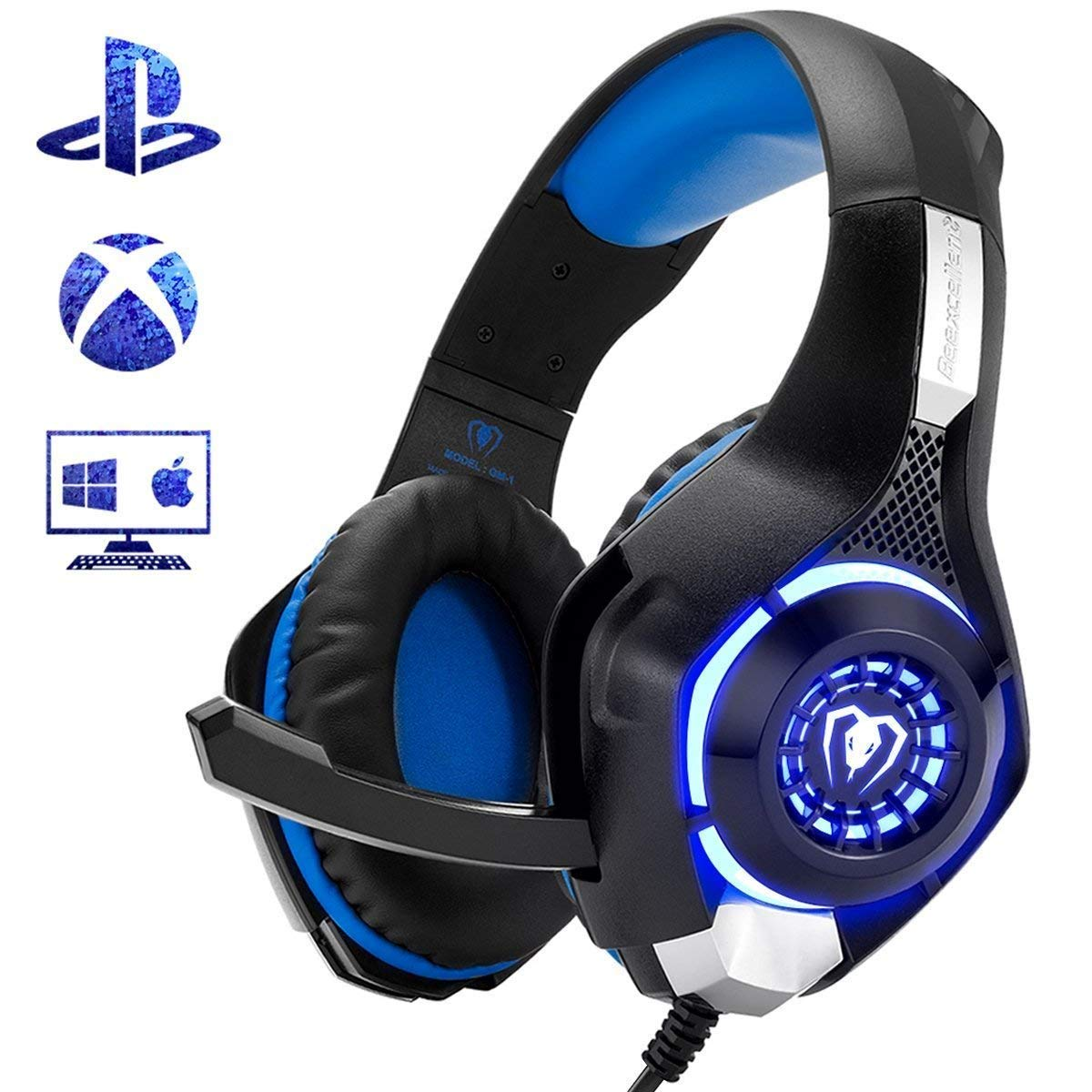Beexcellent Gaming Headset for PS4 Xbox One PC Mac Controller Gaming Headphone with Crystal Stereo Bass Surround Sound, LED Light & Noise-Isolation Microphone by Beexcellent (Image #1)