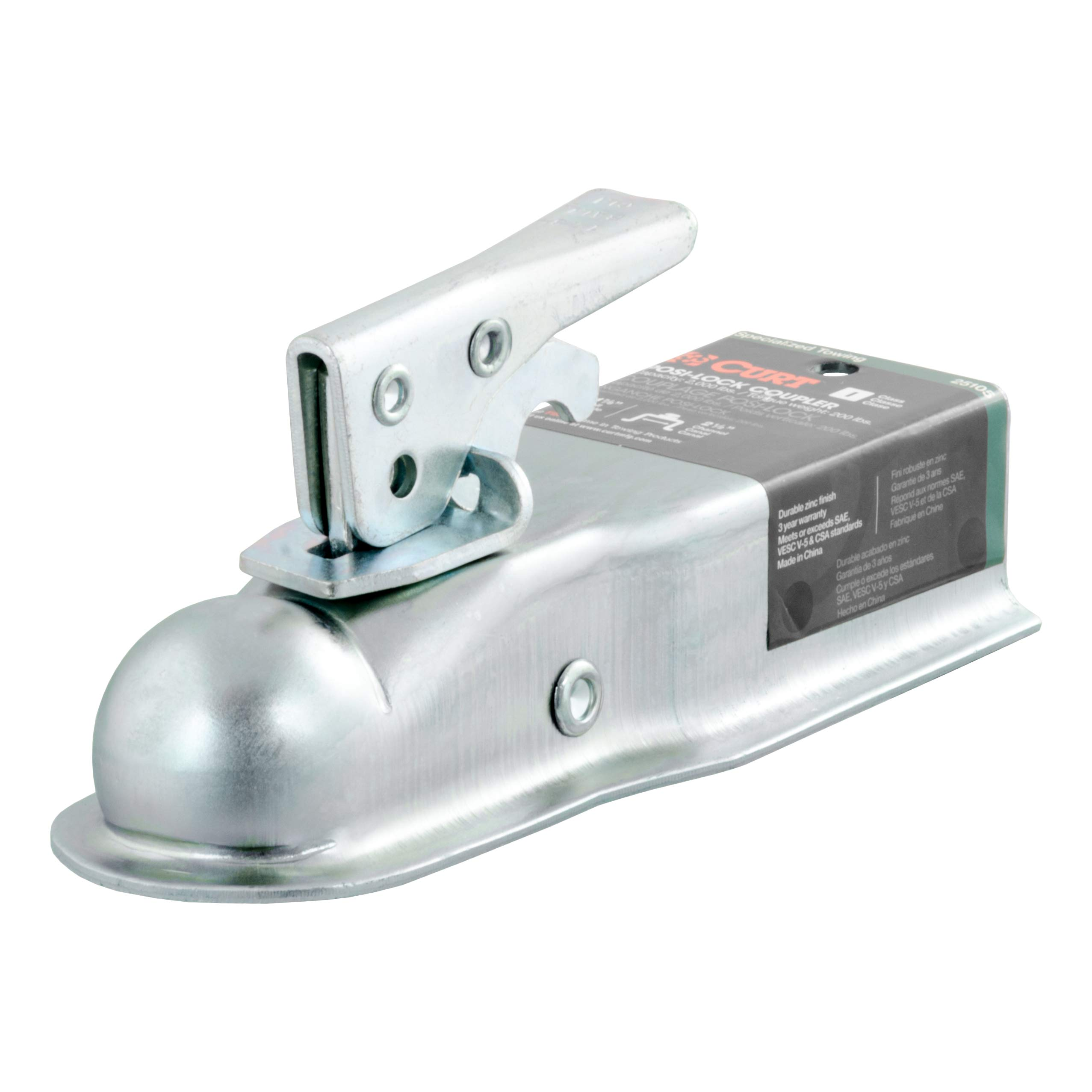 CURT 25105 Straight-Tongue Trailer Coupler for 2-1/2-Inch Channel Accepts 1-7/8-Inch Hitch Ball, 2,000 lbs by CURT