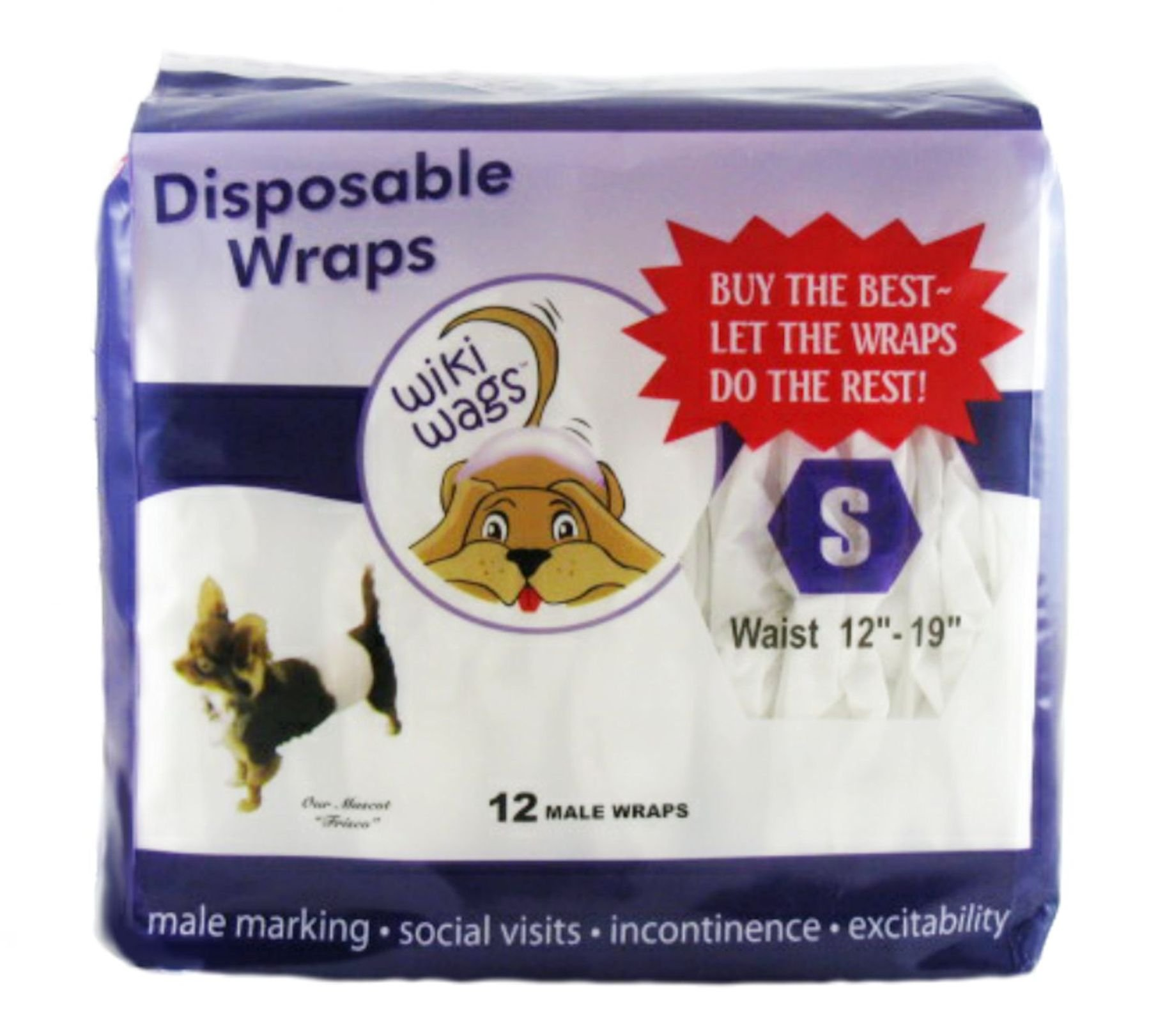 Wiki Wags Brand 12 Small Disposable Male Dog Wraps (Waist: 12''-19'')