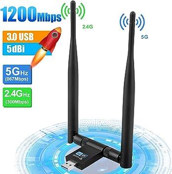 YIYOU WiFi USB Adaptador 1200Mbps WiFi Antena 5dBi USB 3.0 Inalámbrico Dual Band 2.4GHz 300M / 5GHz 867M Receptor WiFi para PC Desktop Laptop para ...