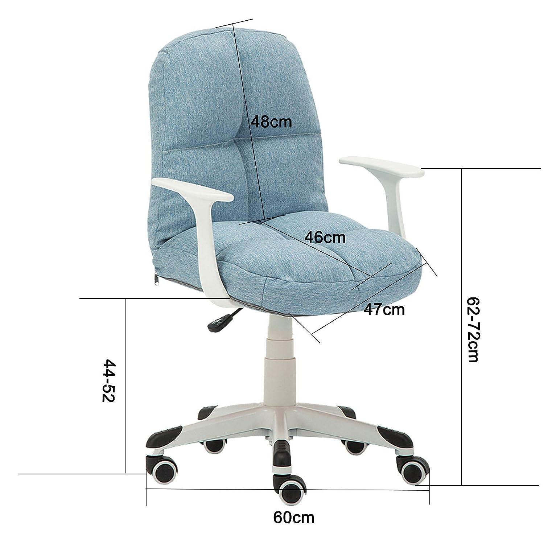 Dator svängbar skrivbordsstol ergonomisk svamp ryggstöd stol hem kontor stol med linne tyg armstöd justerbar höjd snygg sovrumsmöbler, 96 kg kapacitet, gul + kaki Rosa