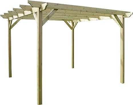 Rutland County Garden Furniture Estructura de Madera jardín pérgola 3,6 mx 3,6 m – luz Verde – esculpido Rafter