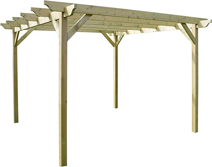 Rutland County Garden Furniture Estructura de Madera jardín pérgola 3, 6 m x 3, 6 m – luz Verde – esculpido Rafter: Amazon.es: Jardín