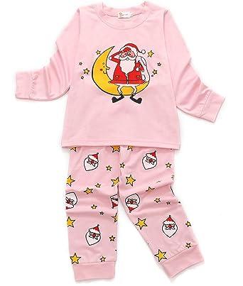 99604b6603a DHASIUE Little Girls Christmas Pajamas Sleepwear 100% Cotton Pjs Toddler  Kids Pant Set (2