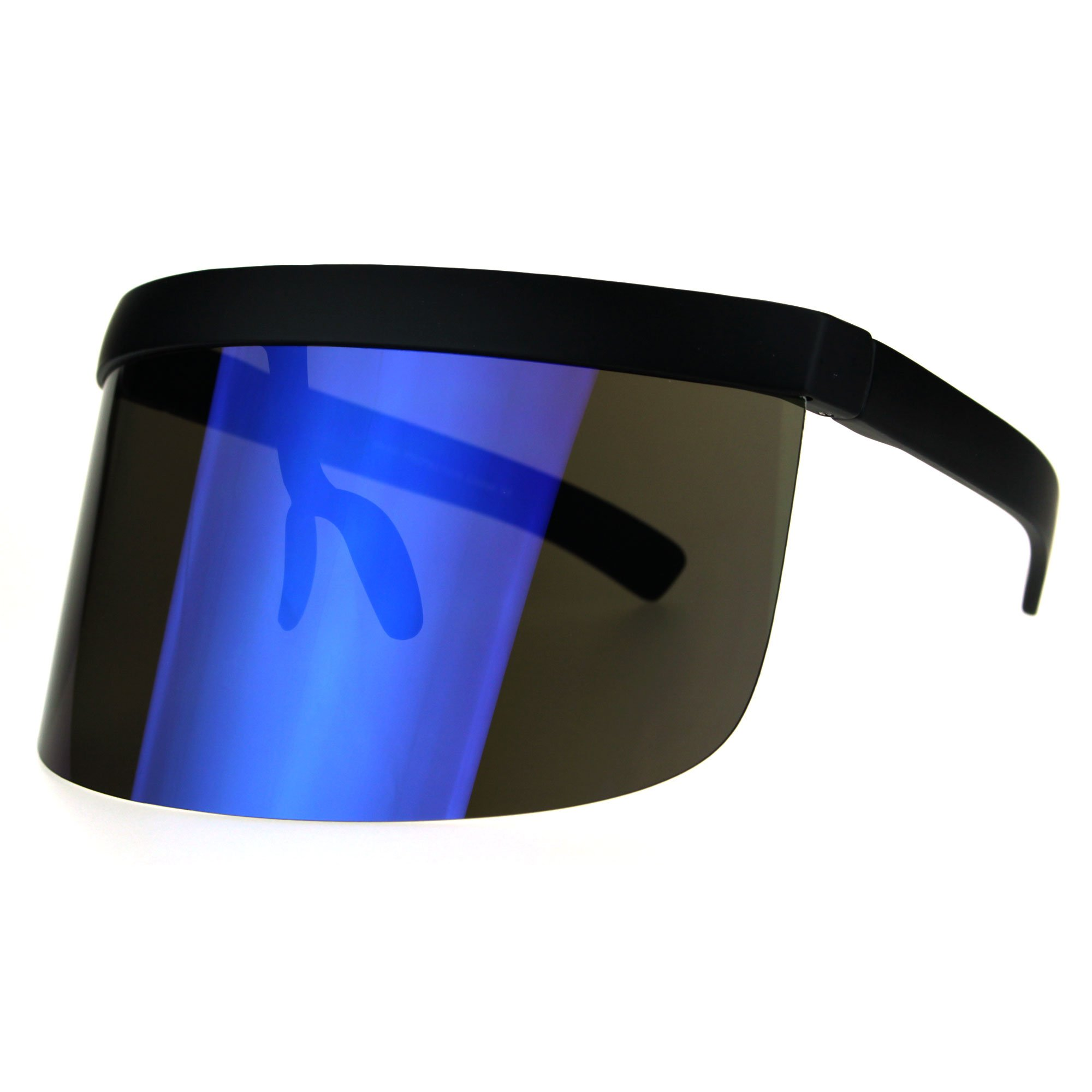 Extra Oversize Visor Style Huge Mask Color Mirror Funky Sunglasses Blue