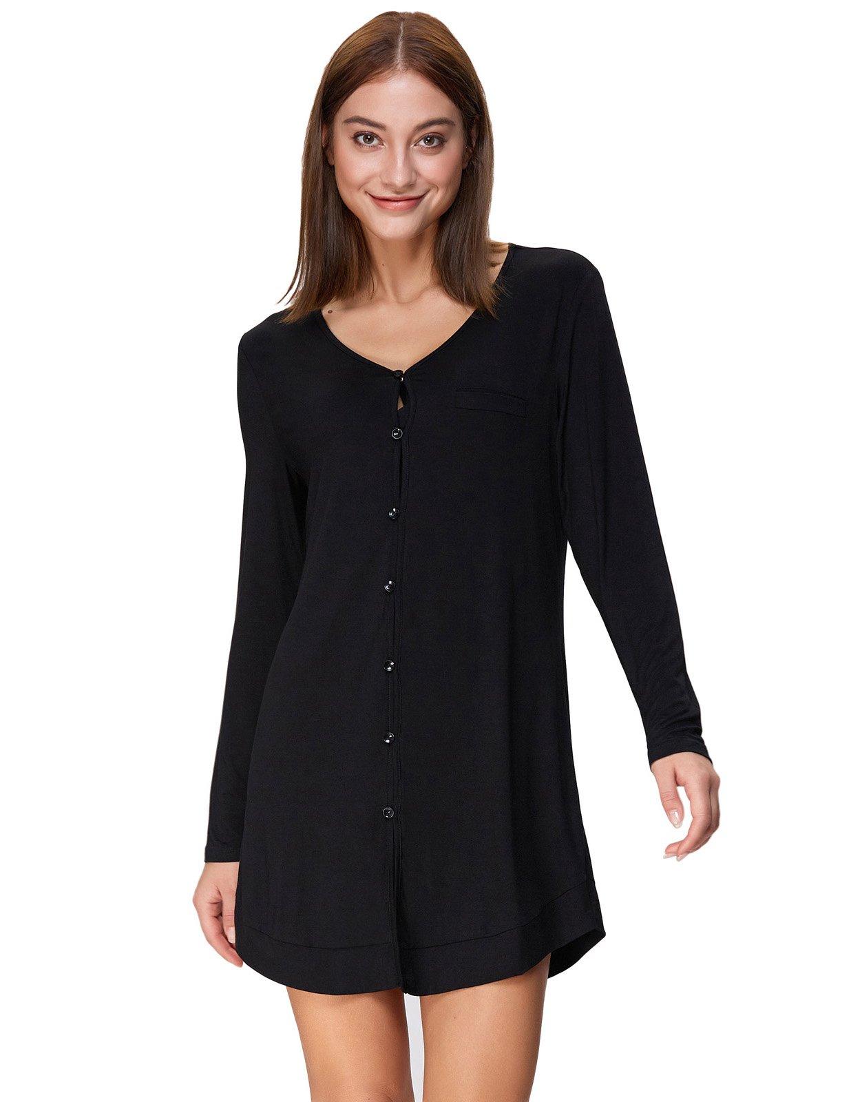 Boyfriend Style Pajama Top Stretchy Mid-Thigh Nightshirt Black Size XL ZE73-1