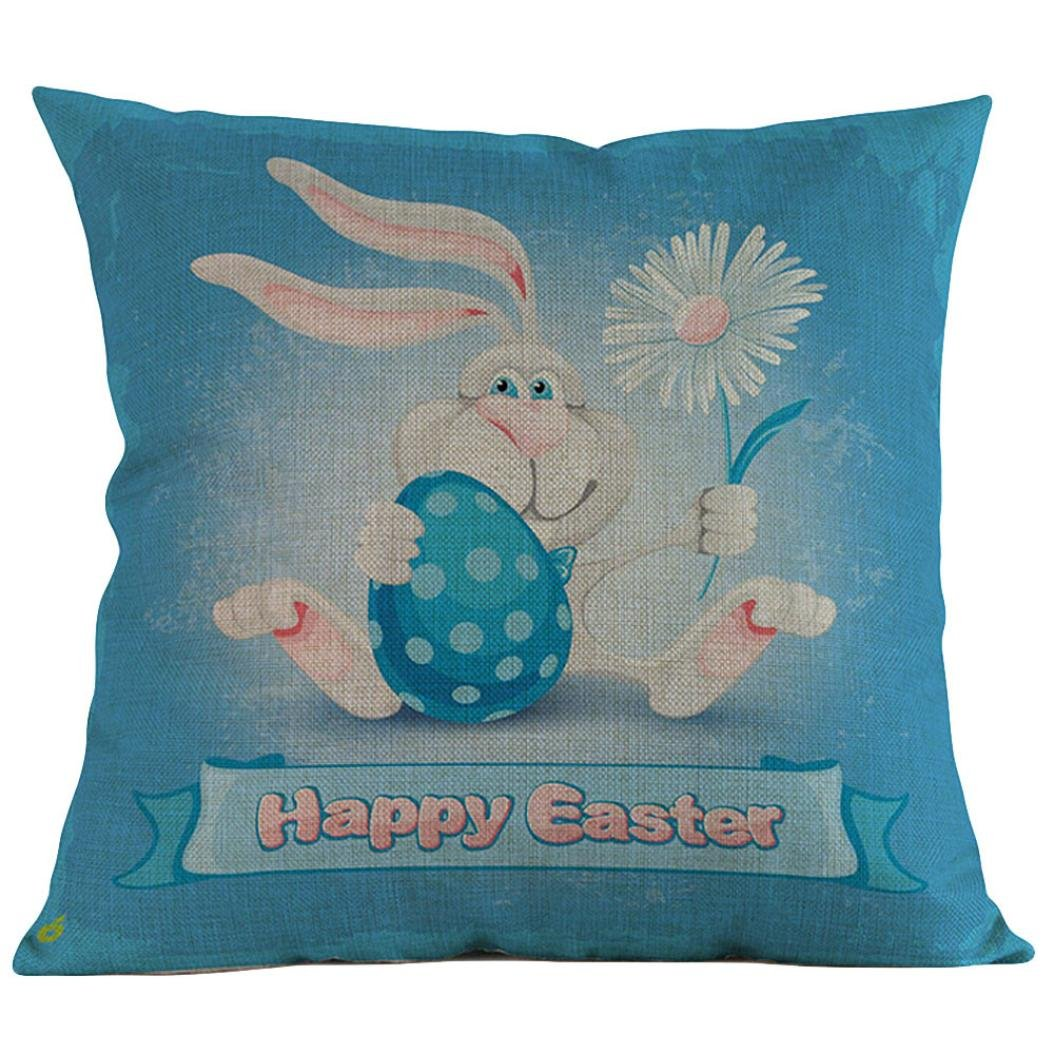 Easter Eggs and Rabbits Throw Pillow Case, Keepfit Sofa Bed Home Decoration Festival Pillow Cushion Cover 18''X18'' (H)