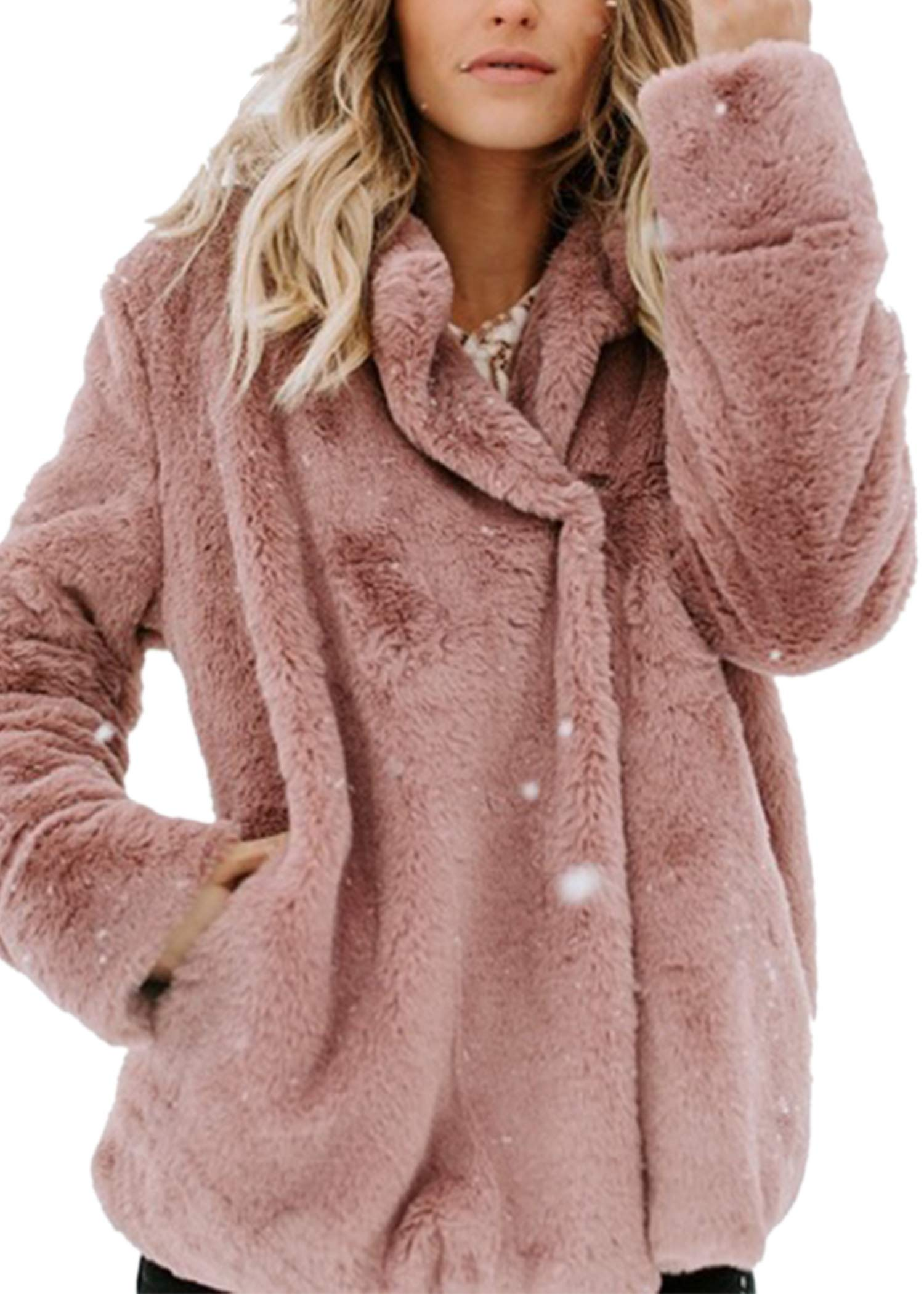 Angashion Women's Long Sleeve Lapel Faux Fur Button Oversized Warm Winter Jacket Coat Outwear with Pockets Pink M