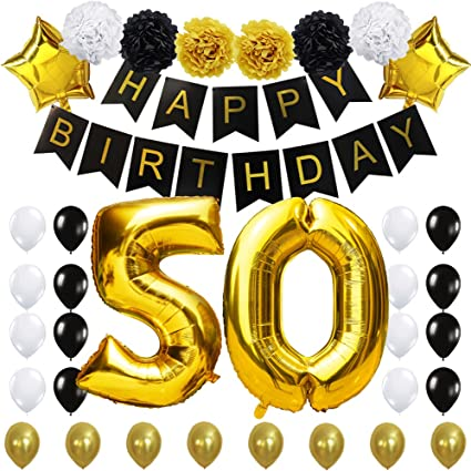 "50TH Birthday Party Decorations Kit- ""Happy Birthday"" Black Banner,40inches Gold Foil ""50"" Balloon,Paper Flower,Star and Latex Balloons,Classy Party ..."