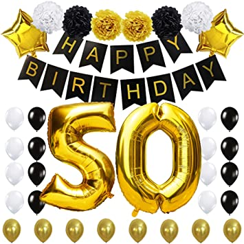 "50TH Birthday Party Decorations Kit- ""Happy Birthday"" Black Banner,40inches Gold Foil ""50"" Balloon,Paper..."