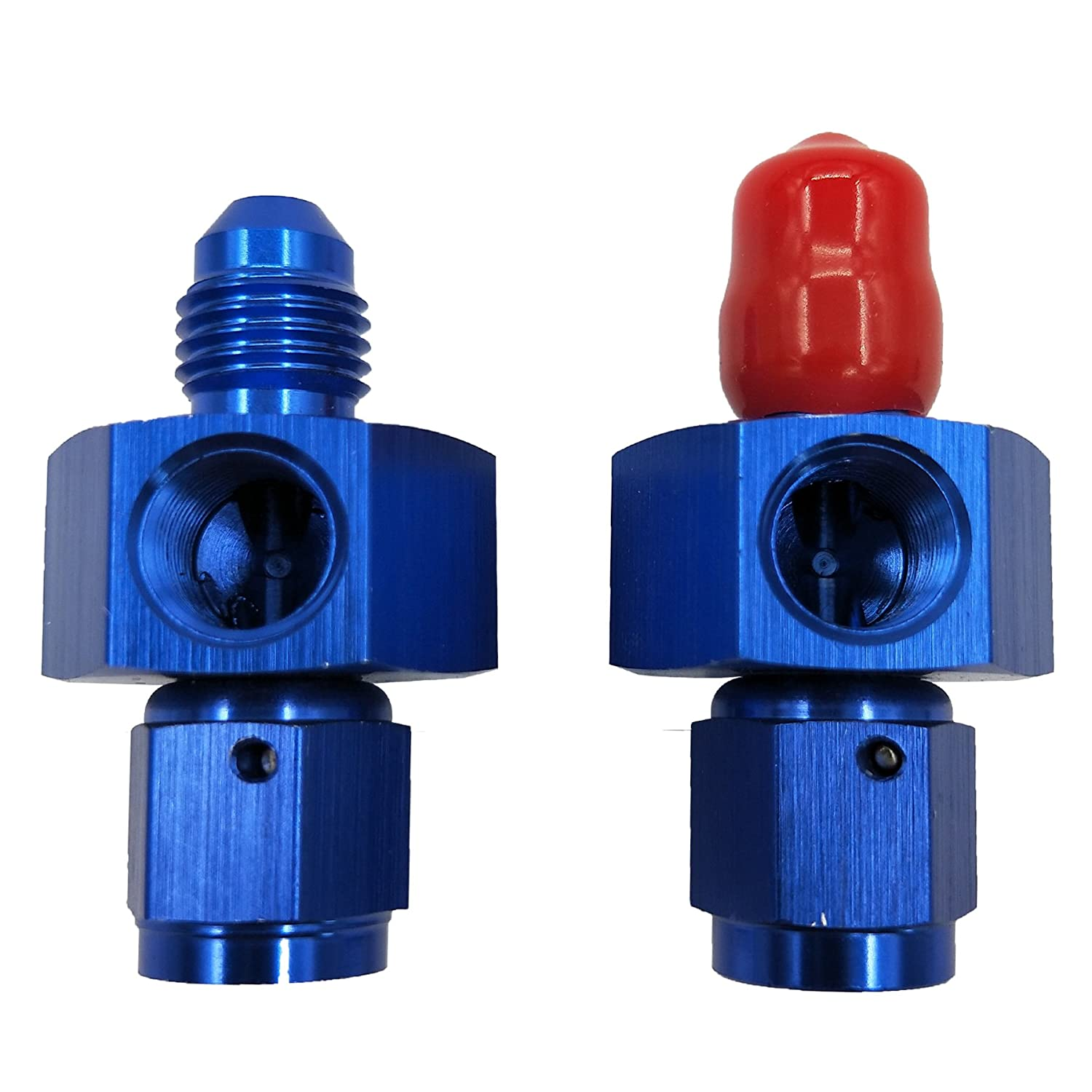 4AN 4 AN Male To Dracary Nitrous Adapter With Two 1//8 NPT Ports For Gauge Paurge 4 AN Female Blue