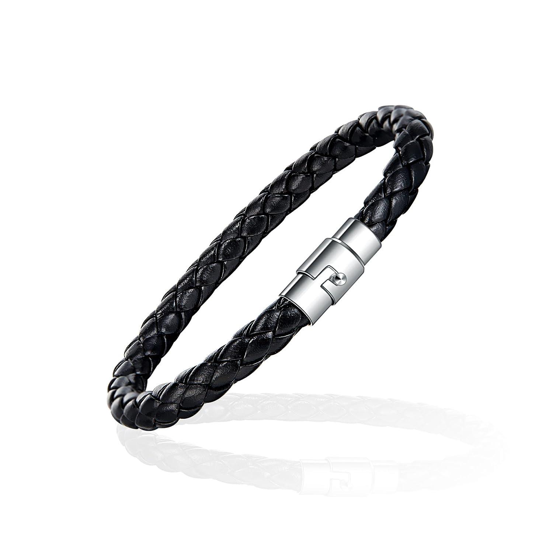 Linuo Homme mince en cuir tressé Bracelet avec verrouillage magnétique Fermoir en acier inoxydable Xianli Wang W002BLACK