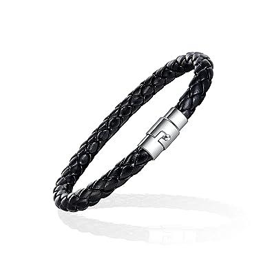 Xianli Wang Jewelry Mens Thin Braided Leather Bracelet Woven Bangle