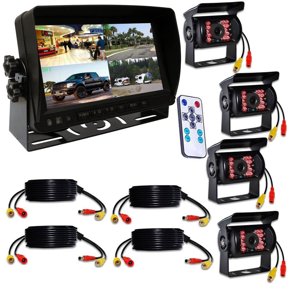 origin トラック対応ドライブレコーダー カメラ4台 20M映像ケーブル4本付き 7インチ 遮光式モニター 12V /24V兼用 SDカードに簡単録画 4画面同時録画可 画面分割機能 で 4画面 2画面 全画面 の 分割表示 (カメラ4台) mn70dvr-cam4 B077TJ6MHQ