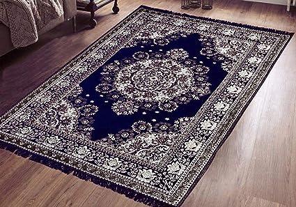 Purav Light Carpets 5 Feet x 7 Feet Blue Chenille Velvet Skin Friendly Runner Rug Mat for Dining Hall Living Room Hall (Kalin Carpet 153x214 cm, 60x84)