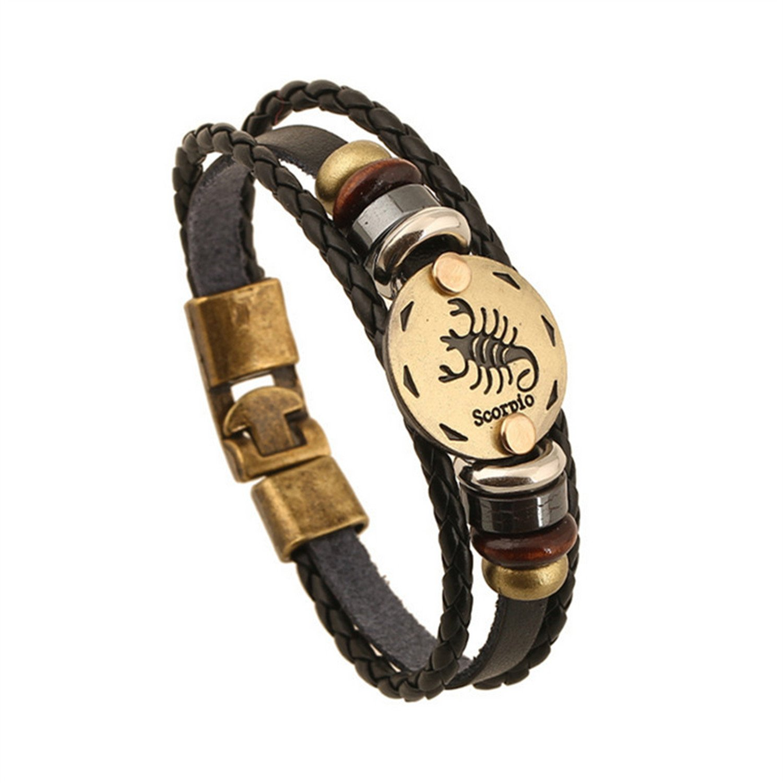 YouzhiWan007 Bronze Alloy Buckles 12 Constellations Bracelet Punk Leather Zodiac Bracelet Wooden Bead Black Gallstone Charm Jewelry Z-370