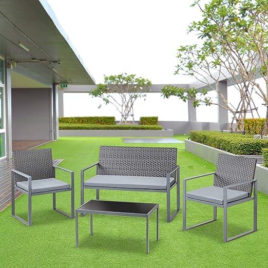 Mc Haus PARMA - Set De Muebles Jardin/Terraza, Gris: Amazon.es: Juguetes y juegos