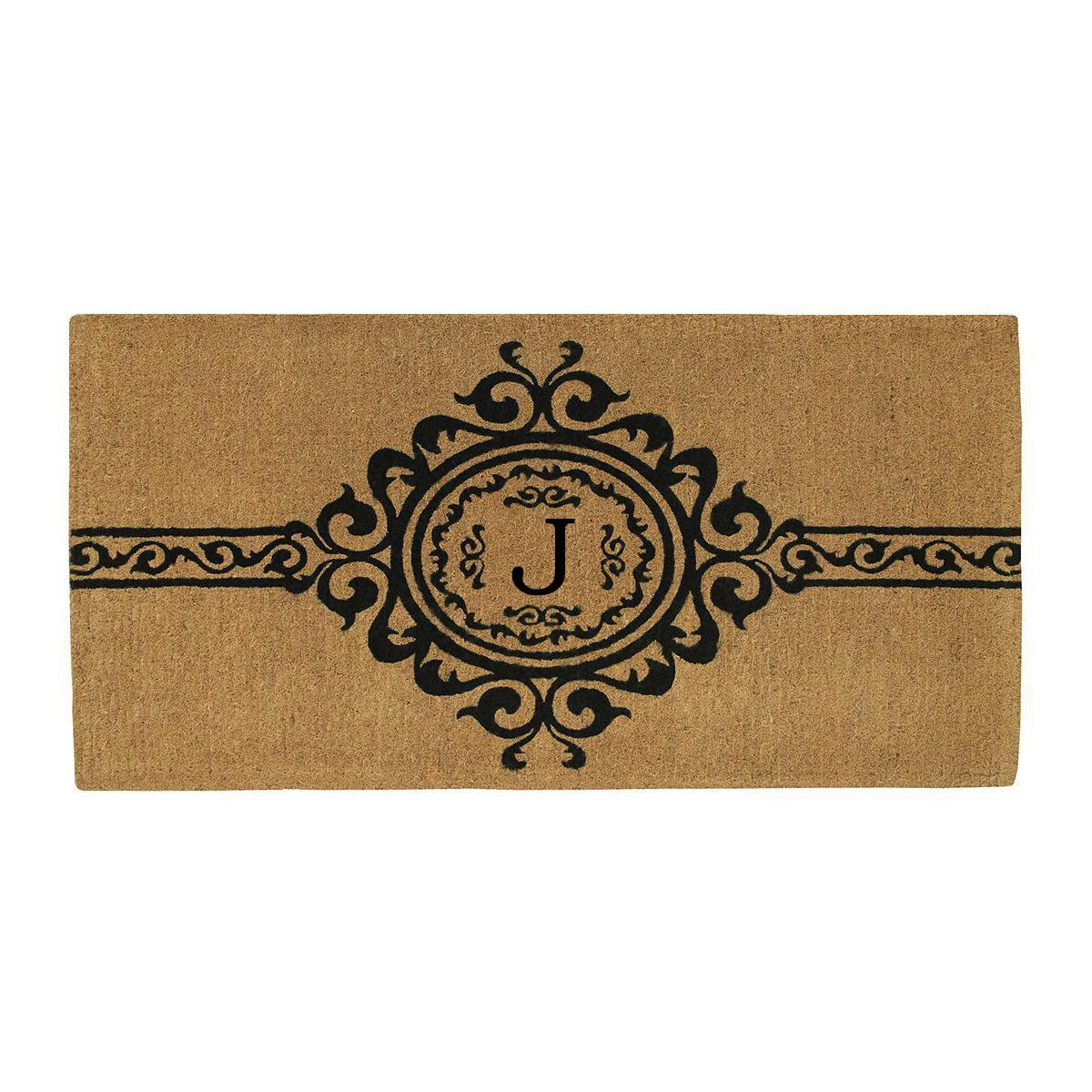 Home & More 180073672J Garbo Extra-thick Doormat, 36'' x 72'' x 1.50'', Monogrammed Letter J, Natural/Black