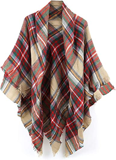 Lady Women Large Tartan Plaid Checked Pashmina Scarf Wrap Shawl Neck Stole Warm