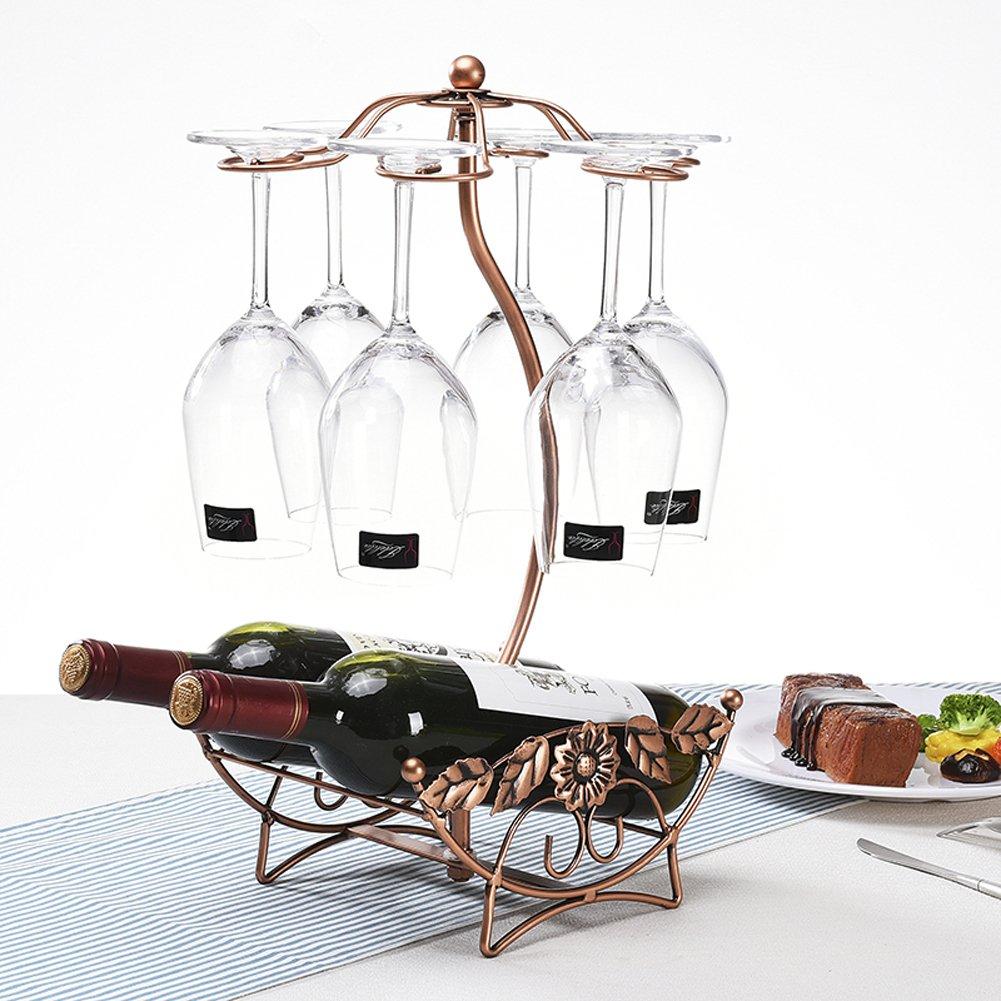 BAIXI Tabletop Wine Cup Rack Stemware Glass Storage Holder Wine Glass Rack 6 Hooks Metal Wine Cup Rack Stemware Glass Storage Organizer Air Drying (Rose gold)