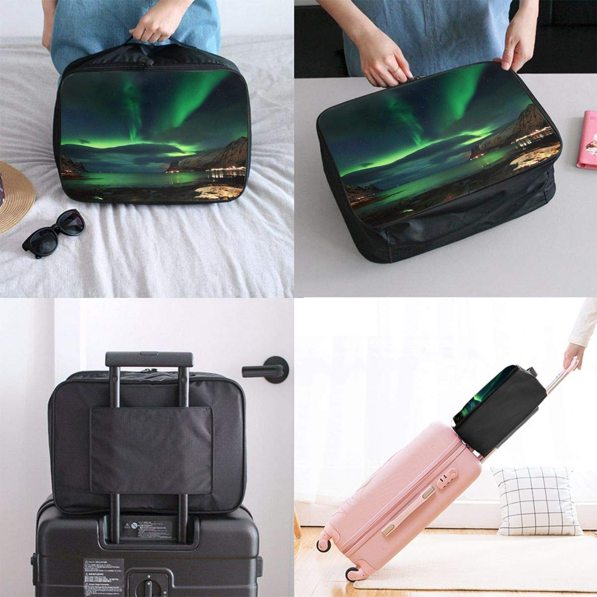 Lightweight Large Capacity Portable Duffel Bag for Men /& Women Aurora Day Camp Travel Duffel Bag Backpack JTRVW Luggage Bags for Travel