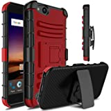 ZTE Tempo X Case, ZTE Blade Vantage Case, ZTE Avid 4 Case, Venoro Heavy Duty Armor Holster Defender Full Body Protective Case Cover with Kickstand and Belt Swivel Clip for ZTE N9137 (Red / Black)