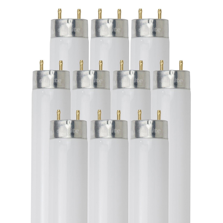 Sunlite F17T8 SP835 10PK T8 High Performance Medium Bi Pin G13 Base Straight Tube Light Bulb 10 Pack 17W 3500K ...