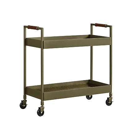 Dorel Living Waylon Bar Cart, Brass Finish