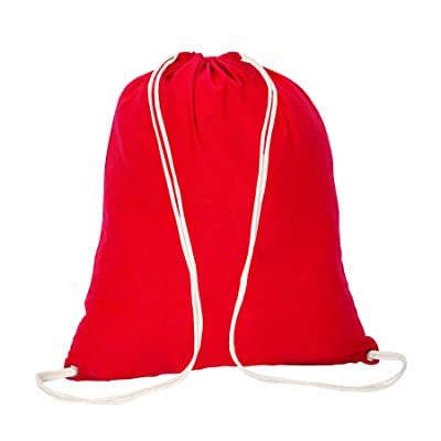 Cotton Drawstring Tote Sports Bag, Red by BAGS FOR LESS well-wreapped