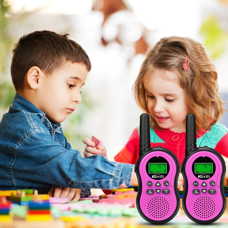 Koviti Kids Walkie Talkies 2 Way Radio 22 Channel Range Up to 3Miles UHF Walky Talkies Interphone Toy Gift for Kids (Pink,2 Pack) by Koviti (Image #6)